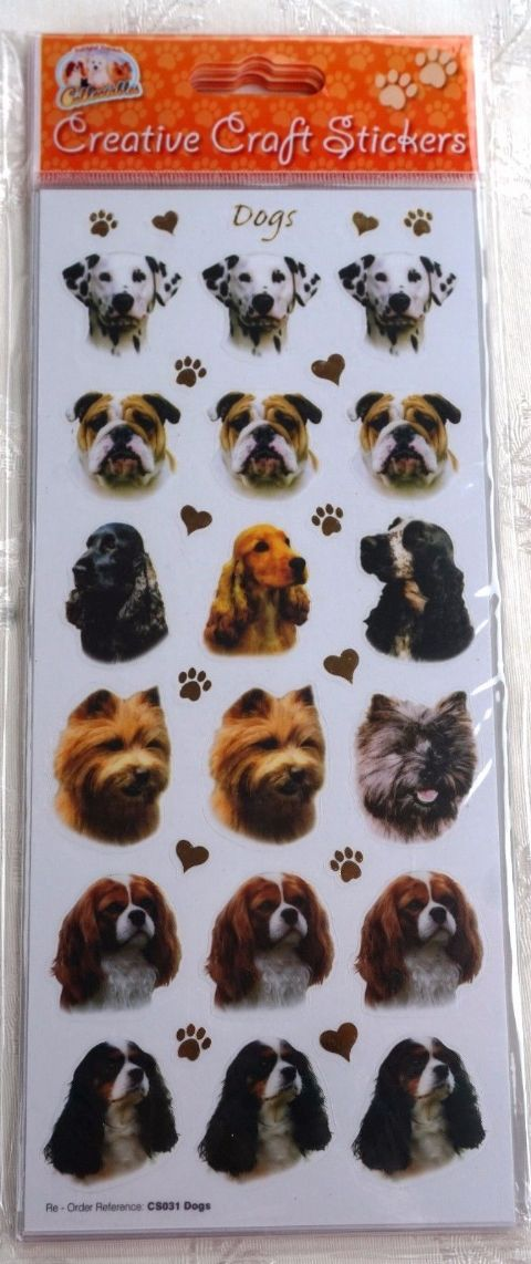 DOG CRAFT STICKERS - ASSORTED DOGS - STICKERS FOR CARD CRAFT SCRAPBOOKING ETC